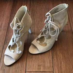 Shoes - Lace up Peep toe Booties